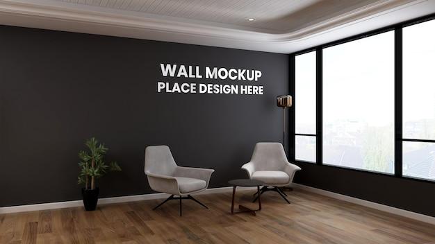 Makieta ścienna w salonie lub poczekalni w holu biurowym z minimalistyczną koncepcją