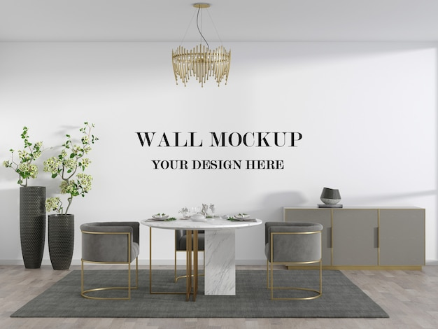 Makieta ścienna w salonie z meblami w złotej ramie i okrągłym stołem