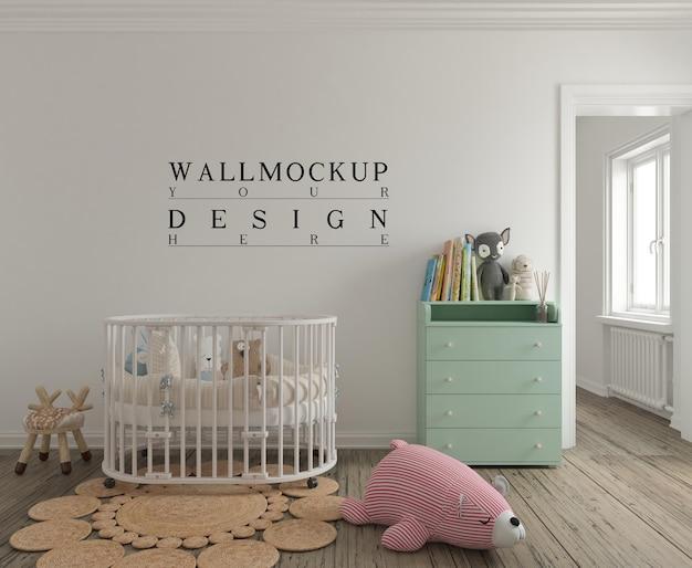 Makieta ścienna w uroczym pokoju dziecięcym