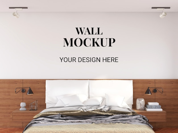 Makieta ścienna we wnętrzu nowoczesna sypialnia