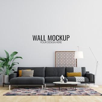 Makieta ścienna wnętrza salonu z meblami i dekoracją