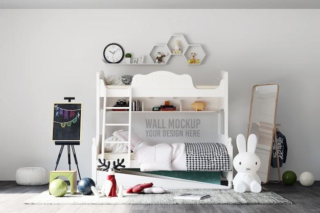Makieta ścienna wnętrze sypialni dla dzieci z dekoracjami