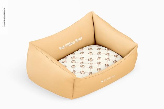 Makieta siedziska z poduszką dla zwierząt, widok izometryczny z prawej strony