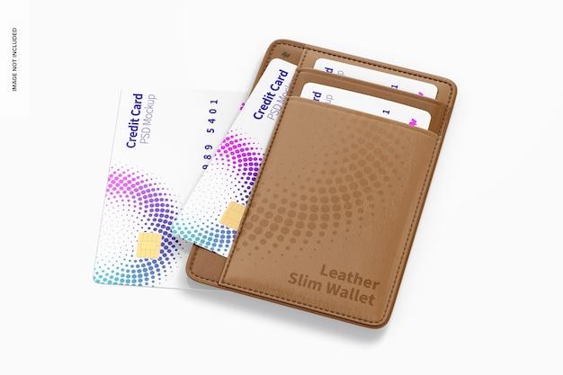 Makieta skórzanego cienkiego portfela, widok z góry