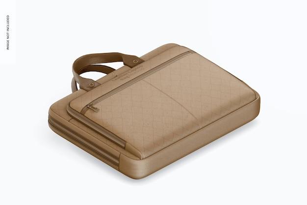 Makieta skórzanej torby na laptopa, widok izometryczny z prawej strony