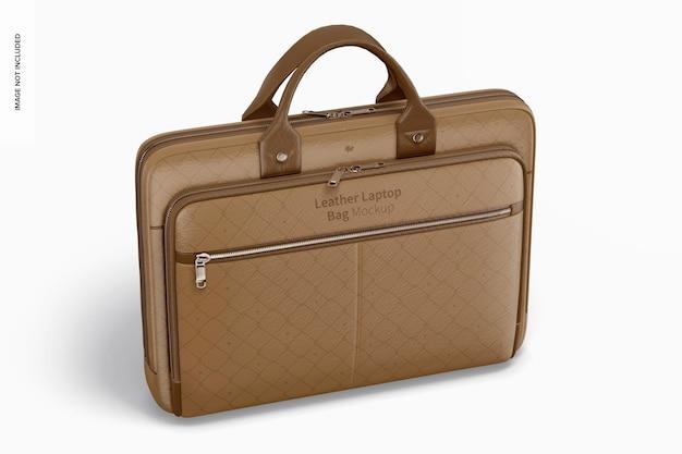Makieta skórzanej torby na laptopa, widok z przodu