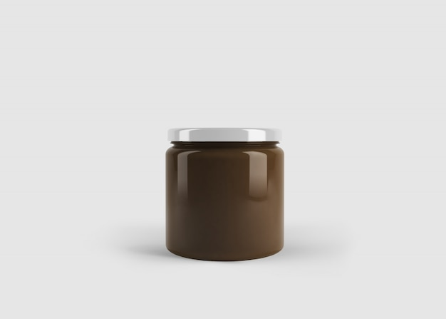 Makieta słoik z kremem czekoladowym z niestandardową etykietą kształtu w czystej scenie studyjnej