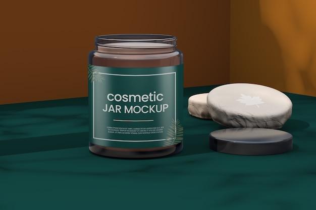 Makieta słoika kosmetycznego z makietą logo
