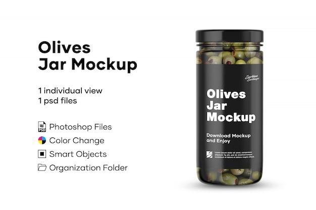 Makieta słoików z oliwkami