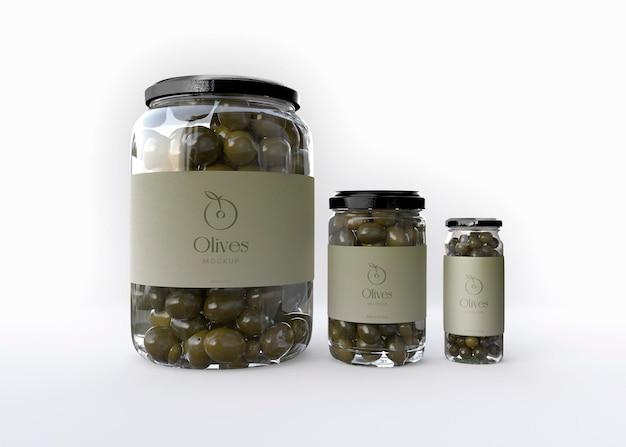 Makieta słoików z trzema oliwkami