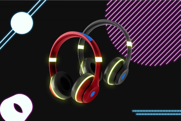 Makieta słuchawek neon