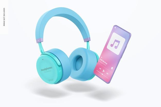 Makieta słuchawek, spadające
