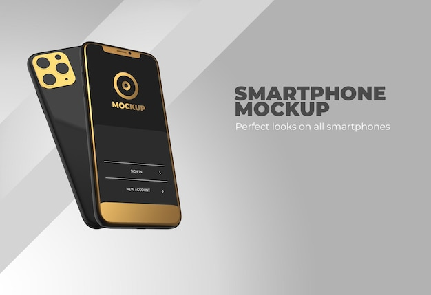 Makieta smartfona w realistycznym renderowaniu 3d