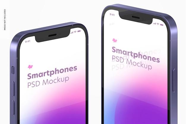 Makieta smartfona w wersji fioletowej, z bliska