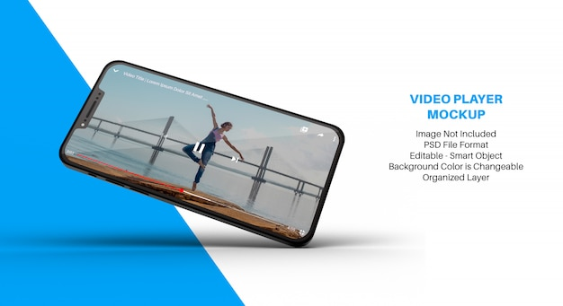 Makieta smartfona z aplikacją odtwarzacza wideo