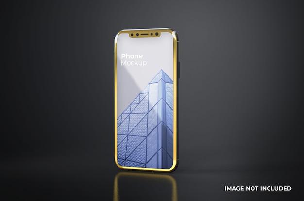 Makieta smartfona z czarnym złotym ekranem