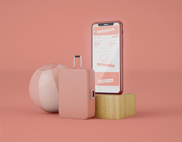 Makieta smartfona z ekranem. letnia podróż i koncepcja podróży.