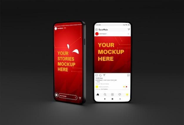 Makieta smartfona z historiami na instagramie i szablonem postu