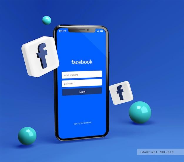Makieta Smartfona Z Ikoną 3d Facebook Premium Psd