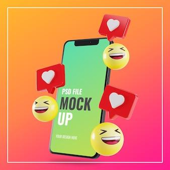 Makieta smartfona z lajkami na instagramie i emoji 3d