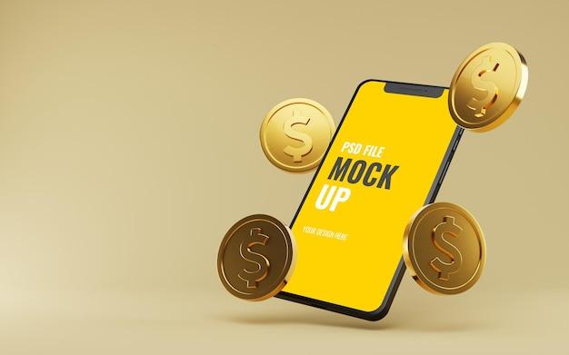 Makieta smartfona z pływającymi złotymi monetami dolarowymi