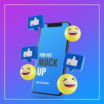 Makieta smartfona z polubieniami na facebooku i emoji 3d