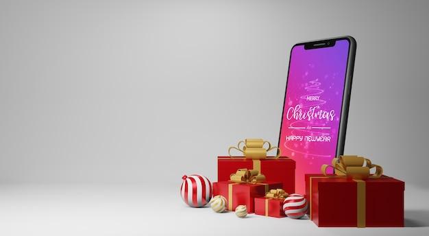 Makieta smartfona z prezentami w renderowaniu 3d
