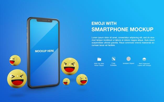 Makieta smartfona z projektem renderowania kulek emoji