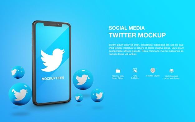 Makieta smartfona z projektem renderowania kuli na twitterze