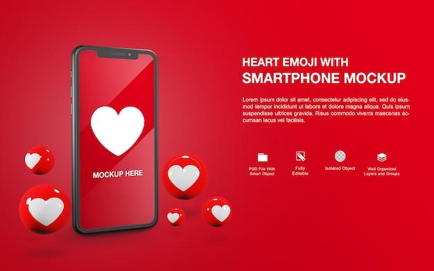 Makieta smartfona z projektem renderowania piłki emoji serca
