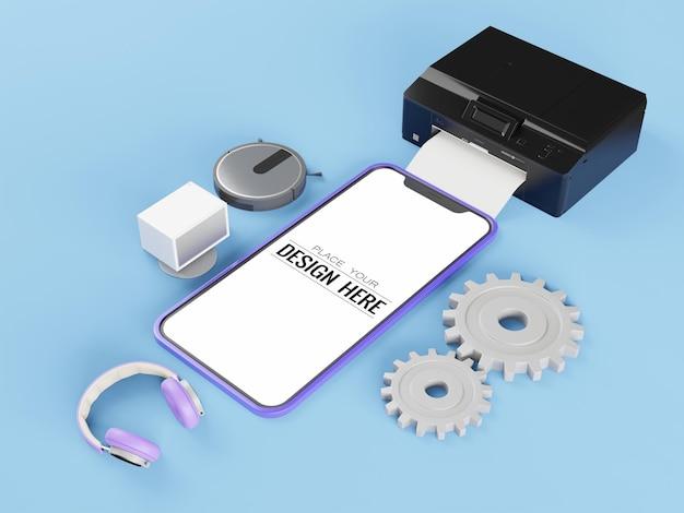 Makieta smartfona z pustym ekranem z różnymi urządzeniami