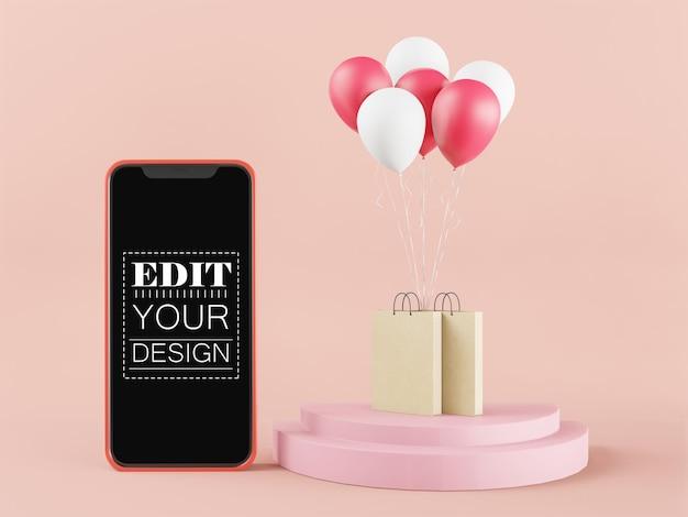 Makieta smartfona z pustym ekranem z torby na zakupy i balony