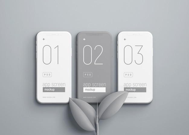Makieta smartfona z szarymi liśćmi