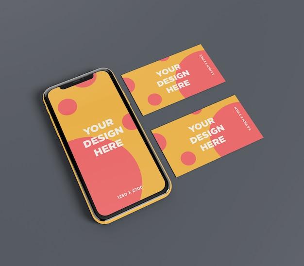 Makieta smartfona z widokiem perspektywicznym podwójnej wizytówki