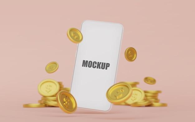 Makieta smartfona ze złotą monetą renderowania 3d