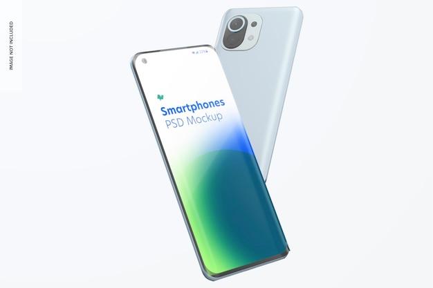 Makieta smartfonów na białym tle
