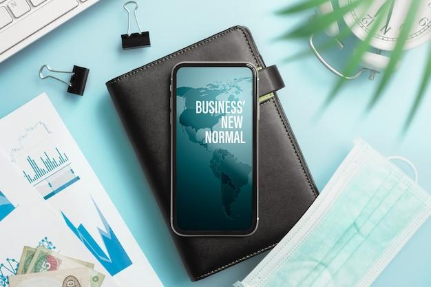 Makieta smartphone dla biznesu po koncepcji covid19