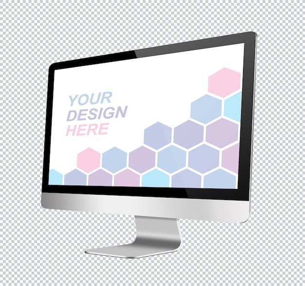 Makieta smukłego monitora komputerowego w perspektywie