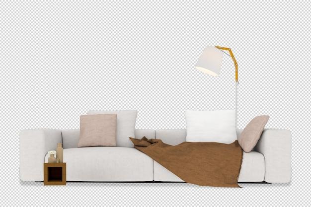 Makieta sofy, stołu i lampy w renderowaniu 3d na białym tle