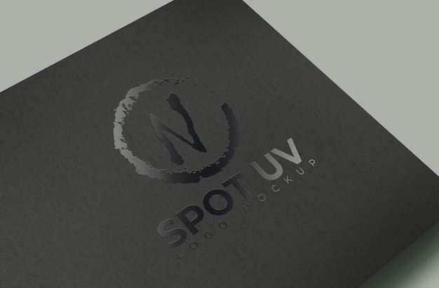 Makieta spot uv logo black paper