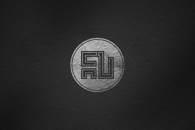 Makieta srebrne logo luksusowe na ścianie
