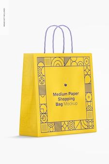 Makieta średniej papierowej torby na zakupy, widok z lewej strony