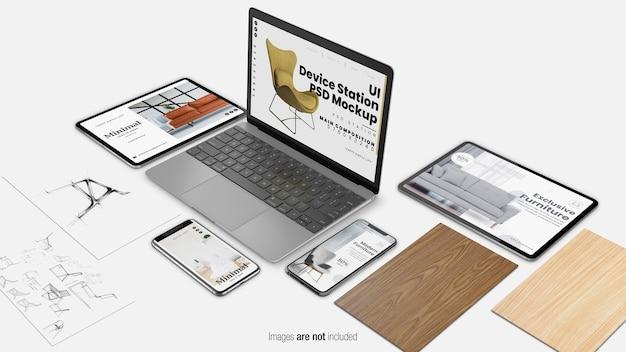 Makieta stacji urządzenia interfejsu użytkownika na białym tle