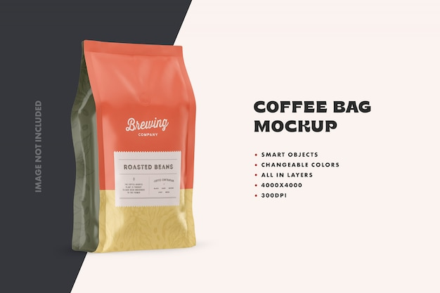 Makieta stojącej torby na kawę