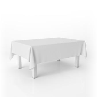 Makieta stołu jadalnego z białym obrusem
