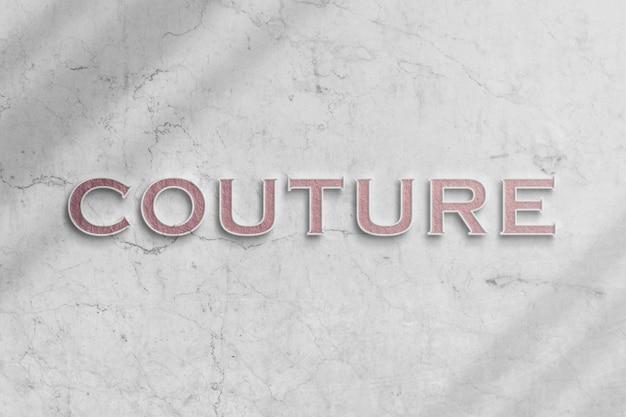 Makieta stylowego logo mody na marmurowej ścianie z realistycznym cieniem