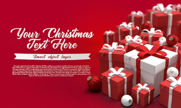 Makieta świątecznego banera na czerwonym tle z dużą ilością prezentów