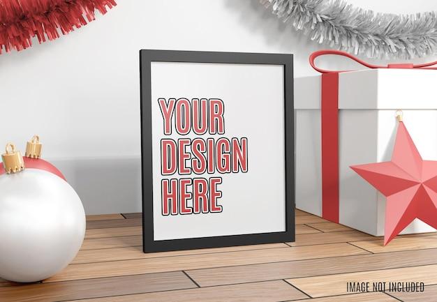 Makieta świątecznej ramki na zdjęcia