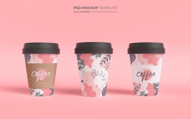 Makieta szablon z papierowymi filiżankami kawy