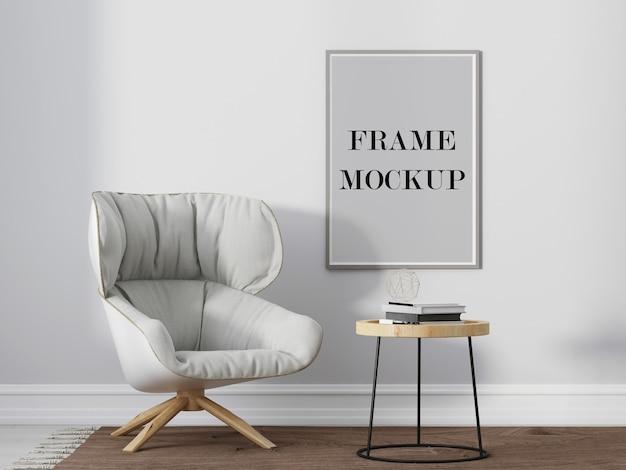 Makieta szarej ramki na zdjęcia obok wygodnego białego fotela wizualizacja 3d